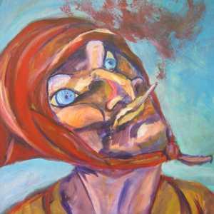 Vrouw met een sigaret